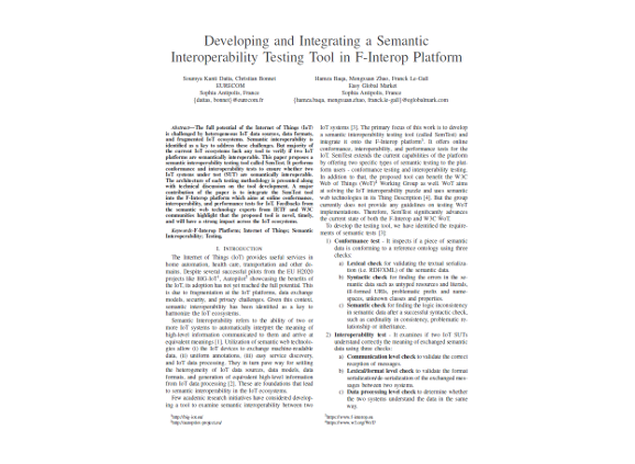 Developing and integrating a semantic Interoperability testing tool in F-Interop platform