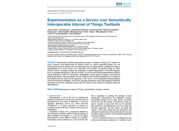 Experimentation as a Service over Semantically Interoperable Internet of Things Testbeds