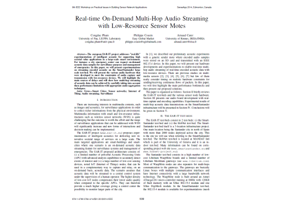 Real-time on-demand multi-hop audio streaming with low-resources sensor motes