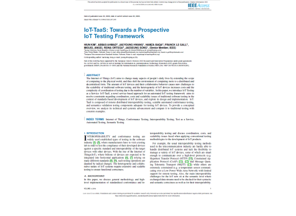 IoT-TaaS: Towards a Prospective IoT Testing Framework