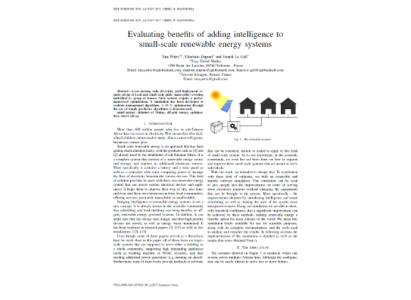 Evaluating benefits of adding intelligence to small-scale renewable energy systems